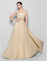 Floor-length Chiffon Bridesmaid Dress - Champagne Plus Sizes / Petite A-line Strapless / V-neck