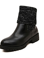 Women's Shoes Fur Chunky Heel Platform/Combat Boots/Round Toe Boots Casual Black