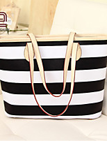 Handcee® Most Popular Woman PU Stripe Tote Bag Beach Bag