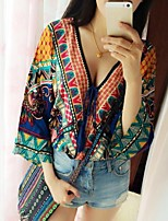 Women's Print/Patchwork Multi-color Blouse ¾ Sleeve Tassel