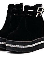 Women's Shoes Velvet/Cashmere Wedge Heel Wedges/Combat Boots/Round Toe Boots Casual Black