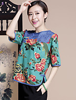 Women's Floral/Print Red/Green T-shirt , Round Neck ½ Length Sleeve Button/Embroidery/Flower