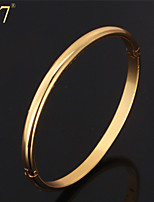 U7® Unisex Simple Style Gold Bangle 18K Real Gold/Platinum Plated Fashion Jewelry for Women Men Concise Bangle Bracelet