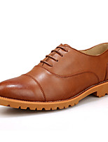 Men's Shoes Outdoor/Casual Leather Oxfords Black/Brown