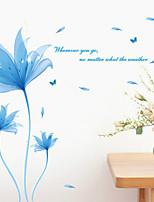 Wall Stickers Wall Decals, Fancy Blue Flowers PVC Wall Sticker