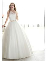 Ball Gown Wedding Dress - White Floor-length Bateau Organza