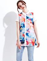 Women's Sexy Casual Print Cute Inelastic Short Sleeve Regular Shirt (Linen)
