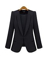 Women's Solid Blue/Black Blazer , Work/Plus Sizes Shirt Collar Long Sleeve