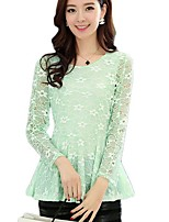 Women's Solid/Lace Pink/Black/Green Blouse , Round Neck Long Sleeve Lace