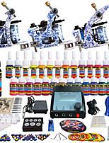 Solong tatouage kit de tatouage pro complète 3 mitrailleuses 28 encres alimentation poignées d'aiguilles conseils