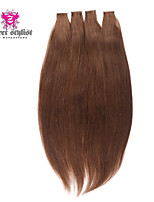 20inch 20pcs Silky Straight Skin Weft Tape In Brazilian Virgin Human Hair Extensions #6 Light Brown