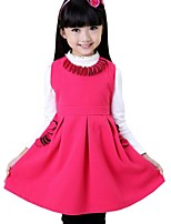Kids Girls Spring Fall Flower Neck Solid Color Princess Party Sleeveless Dress (Cotton Blend)
