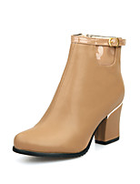 Women's Shoes Chunky Heel Round Toe / Closed Toe Boots Office & Career / Dress / Casual Black / Almond