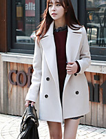 Women's Solid Blue / White / Black / Orange Coat , Casual Long Sleeve Cotton Blends