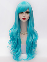 75cm Long Layered Wavy Hair With Side Bang Light Blue Synthetic  European Lolita Lady Wig