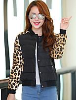 Women's Long Sleeve Short Leopard Cotton Coat