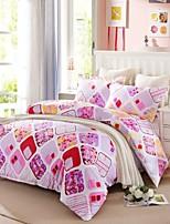 quadrado geométrico algodão conjunto de cama-de-rosa de 4pcs