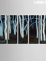 E-HOME® White Forest Clock in Canvas 5pcs