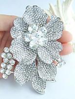 Wedding 3.54 Inch Silver-tone Clear Rhinestone Crystal Bridal Flower Brooch