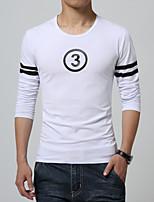 Men's Korean Letter Print Round Collar Slim Long Sleeved T-Shirts