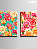 E-HOME® Stretched Canvas Art Bright Flowers Decorative Painting Set of 2
