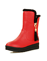 Women's Shoes Leatherette Wedge Snow Boots / Round Toe Boots Outdoor / Office & Career / Casual Black / Red