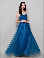 Floor-length Tulle Bridesmaid Dress - Ink Blue Plus Sizes / Petite Sheath/Column Strapless