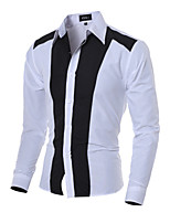 Men's Long Sleeve Shirt , Cotton Blend Casual / Work / Formal / Sport / Plus Sizes Striped / Pure