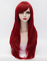 70cm Long Layered Curly Hair With Side Bang Wine Red Heat-resistant Synthetic Harajuku Lolita Women Wig