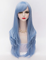 70cm Long Layered Curly Hair With Side Bang Sky Blue Heat-resistant Synthetic Harajuku Lolita Women Wig