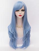 70cm el pelo rizado largo en capas con el cielo explosión lado azul mujeres lolita harajuku sintético resistente al calor peluca