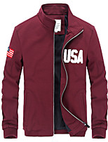 Men's Long Sleeve Casual / Sport / Plus Size Jacket,Cotton / Polyester Solid / Letter Black / Blue / Red HXTX-6833
