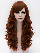 High Quality Long Loose  Wavy Side Bang Hair Auburn  Synthetic European Style Lolita  Wig For Lady