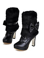Women's Shoes Stiletto Heel Fashion Boots / Round Toe Boots Dress / Casual Black / Pink / Beige