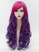 75cm Harajuku Fashion Long Wavy Side Bang Hair Red Gradient Purple Synthetic Lolita Party Women Wig