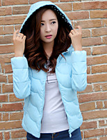 Women's Hoodie Slim Thin Puff Sleeve Long Sleeve Down Coat , Casual/Cute/Work Cotton/Polyester/Feather