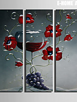 E-HOME® Stretched Canvas Art Red Flowers And Wine Decorative Painting Set of 3