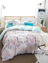 White Floral Cotton Bedding Set Of 4pcs Four Seasons Use