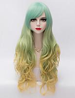 Harajuku Fashion Long Wavy Side Bang Hair  Gold&Green Gradient Synthetic Lolita Party Charming Women Wig