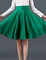 Spring Autumn Thick Satin Fabrics 360 Degree Big Swing Party OL Knee Length Skirt