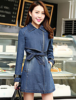 Women's Blue Denim Coat , Casual Long Sleeve