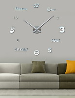 Uermerstar Diy Large Room Decor Wall Clock Silver Color Modern Style Diameter 39 in