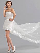 A-line Asymmetrical Wedding Dress - Strapless Tulle