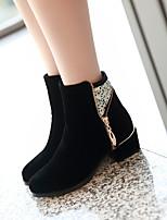 Chaussures Femme - Extérieure / Bureau & Travail / Décontracté - Noir - Talon Bas - Talons / Rangers / Bout Arrondi - Bottes - Similicuir