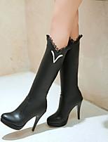 Zapatos de mujer - Tacón Stiletto - Plataforma / Punta Redonda / Botas a la Moda - Botas - Vestido / Casual - Semicuero - Negro / Blanco