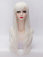 70cm Long Layered Curly Hair With Side Bang White Heat-resistant Synthetic Harajuku Lolita  Wig