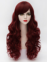 Universal Long Loose Wavy Full Bang Hair Dark Red Synthetic Vogue Women Wig