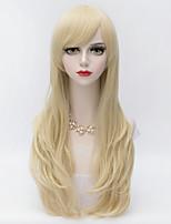 Harajuku cheveux bouclés lolita à long couches avec Blond de bang côté les femmes synthétiques résistantes à la chaleur perruque