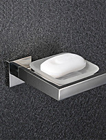 Bathroom Wall Mounted Polished Stainless Steel Soap Dish Holder with Glass Dish