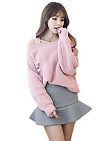 Women's Casual Sexy Off the Shoulder Strappy Hole Pullover Knitted Sweater